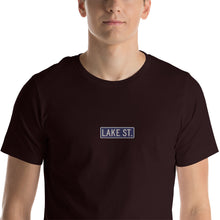 Load image into Gallery viewer, Embroidered Lake St Logo (Navy) Short-Sleeve Unisex T-Shirt (Centered Logo)
