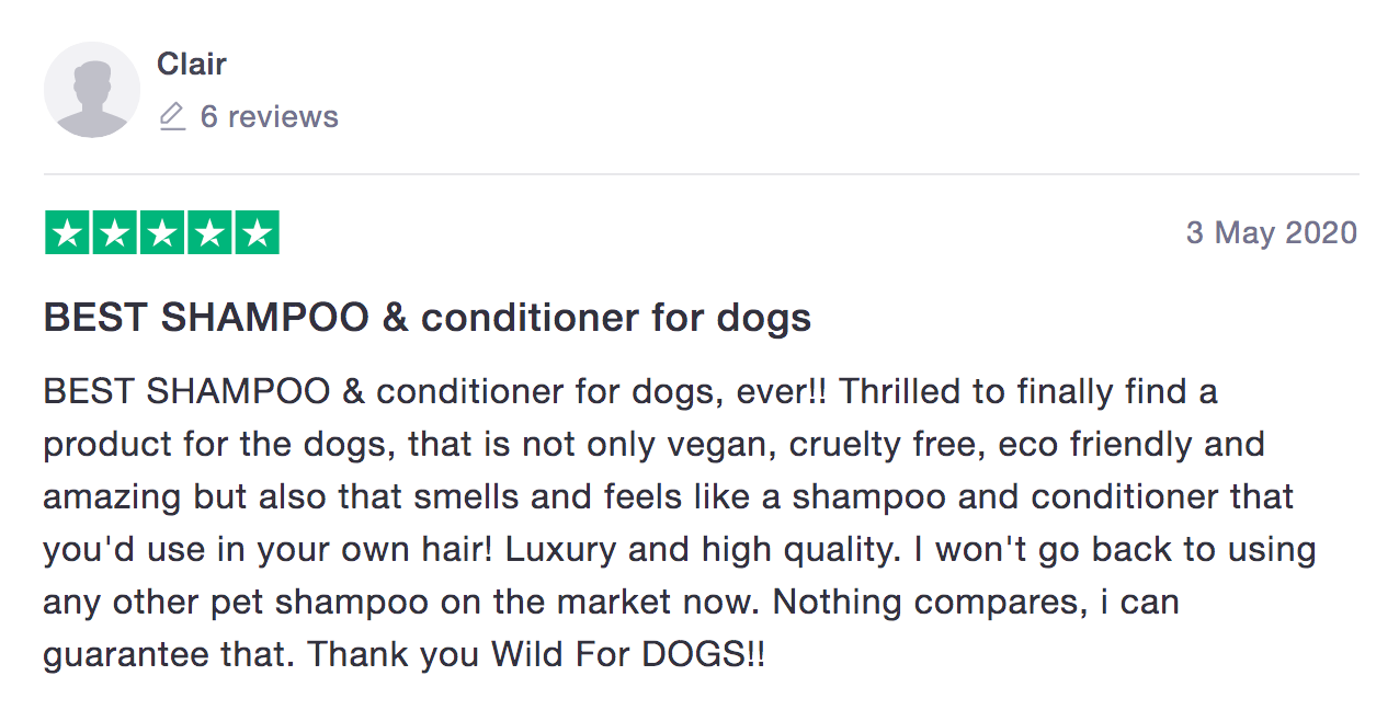 Wild for Dogs organic vegan sustainable best dog shampoo