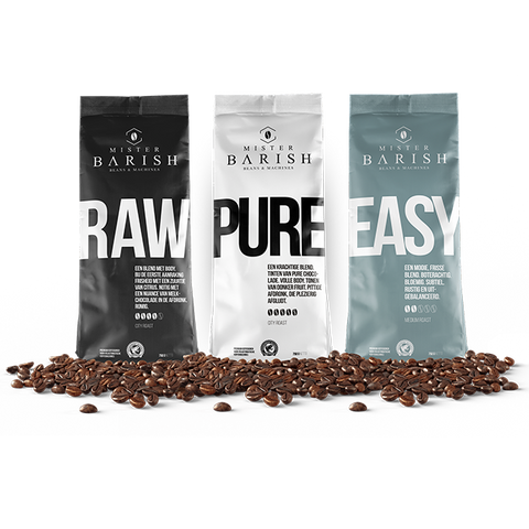 koffiebonen raw pure en easy mister barish