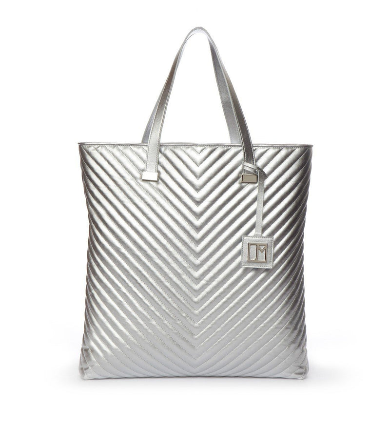 Newport Quilted Tote, Silver Metallic