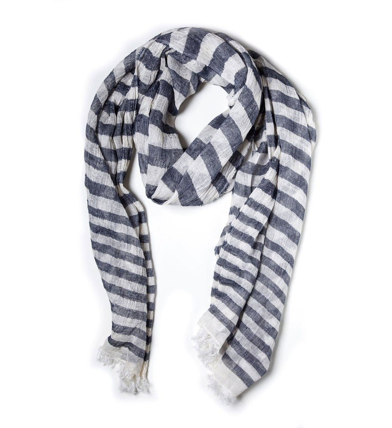 Linen and Cotton Scarf, narrow stripes, Blue & White