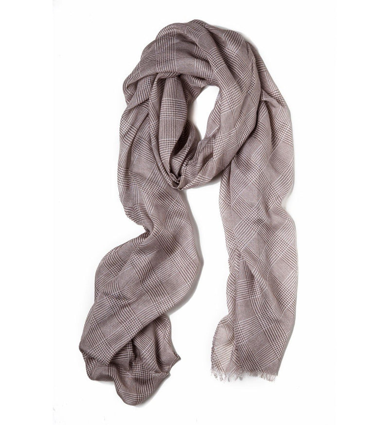 Cross-Hatch Scarf, Brown & White