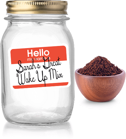 Coffee mason jar and bowl of ground coffee
