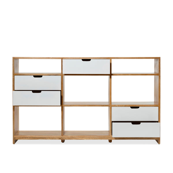 Florida Half Triple Bookcase — Natural/White - Empire Homewares