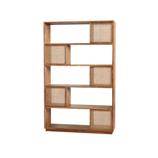 Elton Bookcase — Antique/Rattan - Empire Homewares