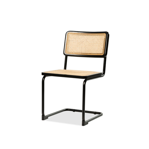 Breuer Side Chair — Black/Rattan - Empire Homewares
