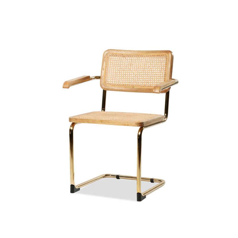 Breuer Arm Chair — Brass/Rattan - Empire Homewares