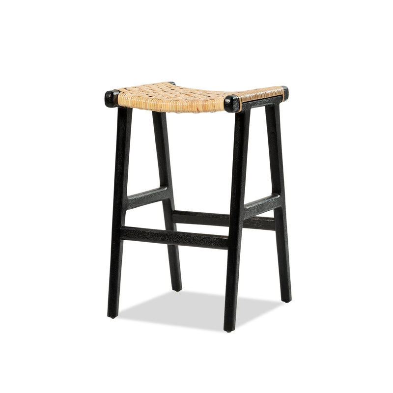 Casa Stool — Black/Rattan - Empire Homewares