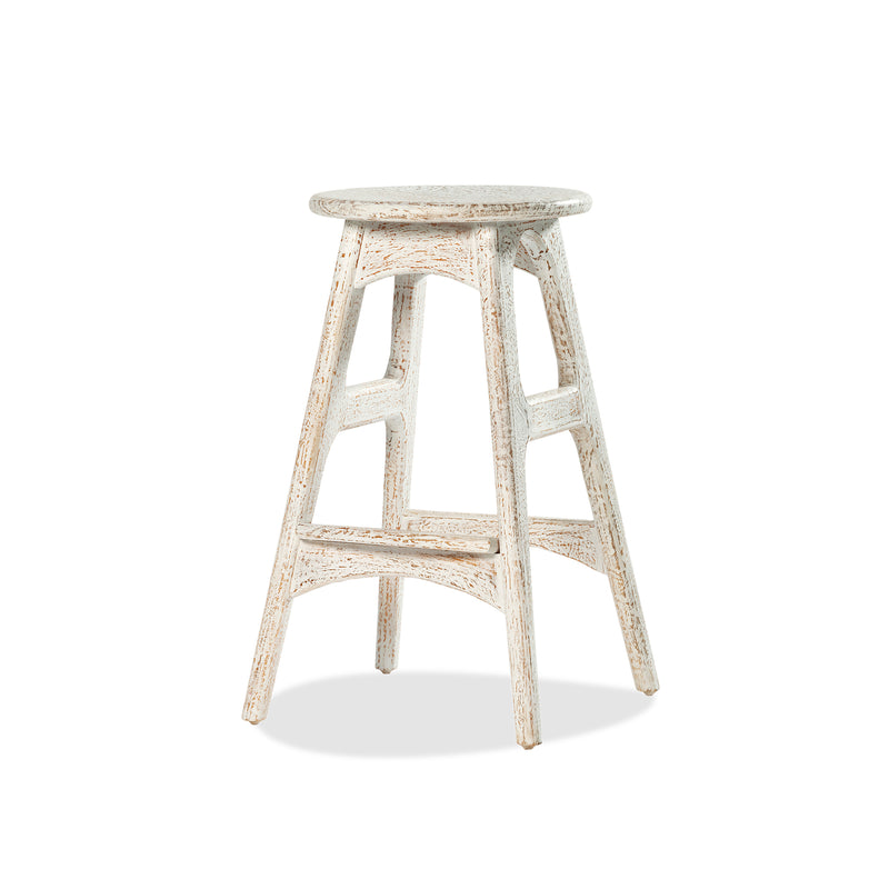 Deco Bar Stool — White Wash - Empire Homewares