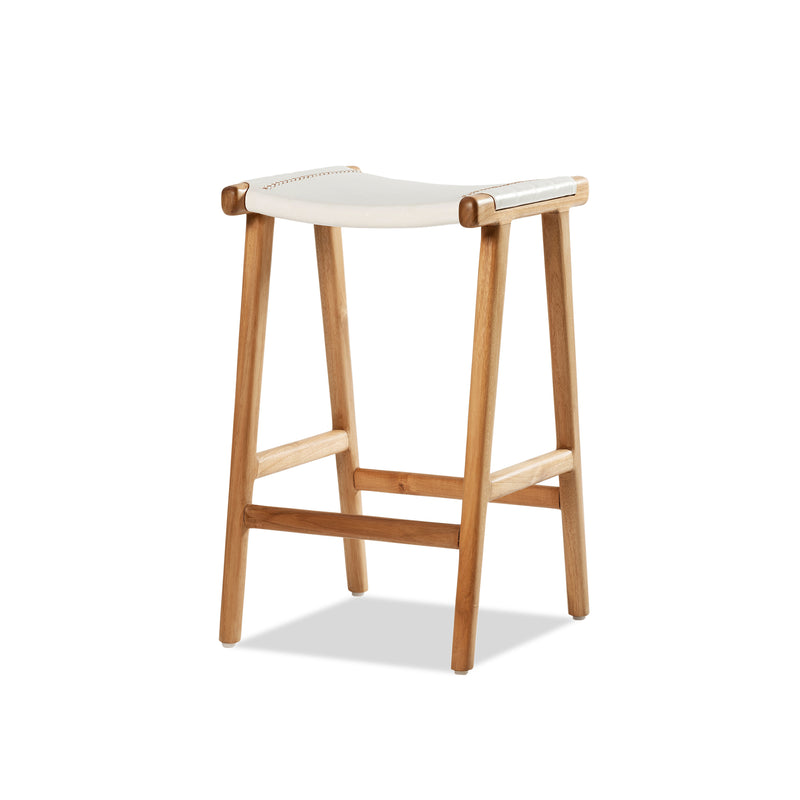 Jok Stool — Natural/White Leather - Empire Homewares