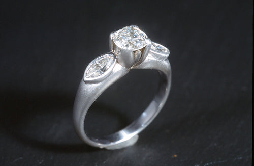 Platinum Tulip ring with Diamonds