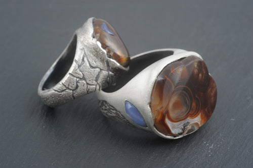 Agate and Moonstone Weddings Rings