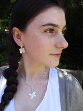 Load image into Gallery viewer, clover long stem earring paired with Lg. clover pendant