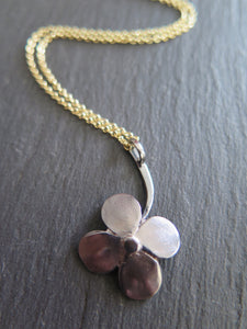"""A Little Luck"" clover with 14k chain -small pendant"