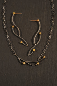 waxberry branch necklace and earrings