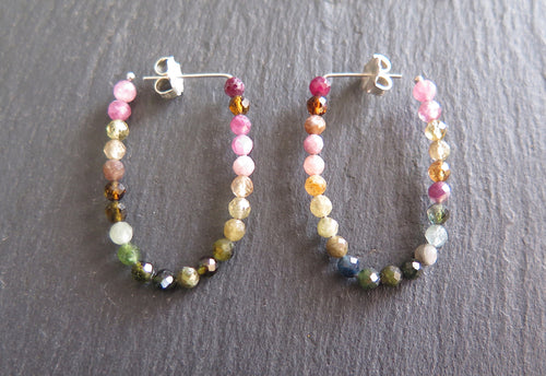 Rounded Tourmaline Hoops