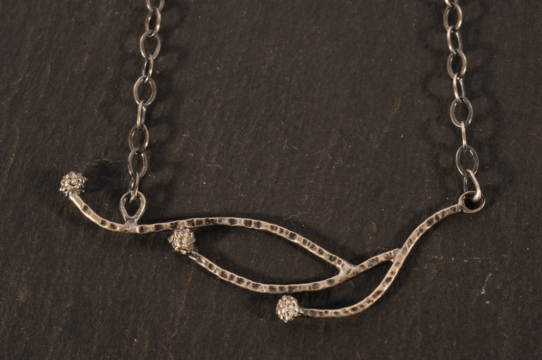 silver waxberry branch necklace
