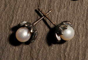 flores studs with pearls