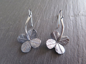 """A Little Luck"" clover long stem drop earrings"