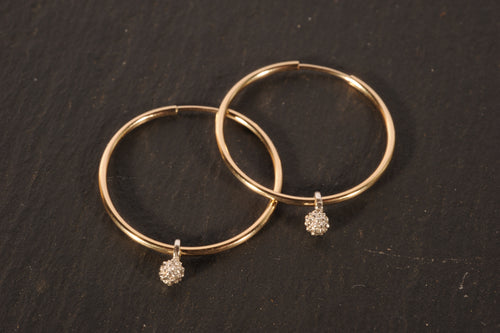 waxberry simple hoops - gold filled with silver berry