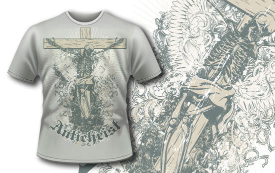 Skeleton Cross - T-Shirt - Shirto.nl