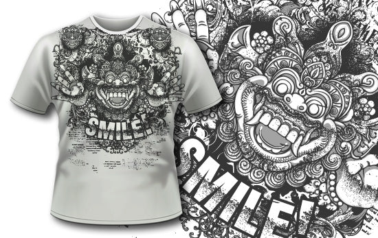 Bali Demon and Flowers T-Shirt - Omega Design
