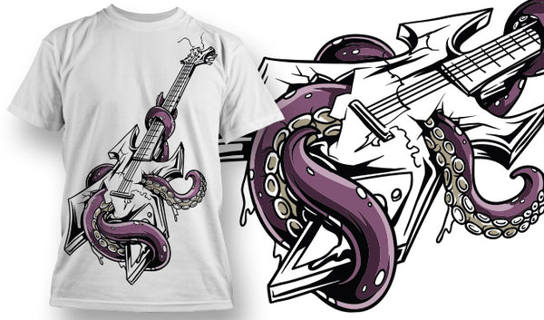 Octopied Guitar - T-Shirt - Shirto.nl