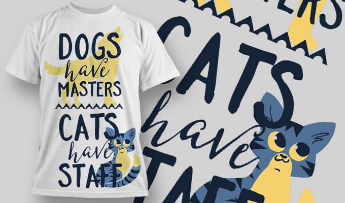 Cats have staff - T-Shirt - Shirto.nl