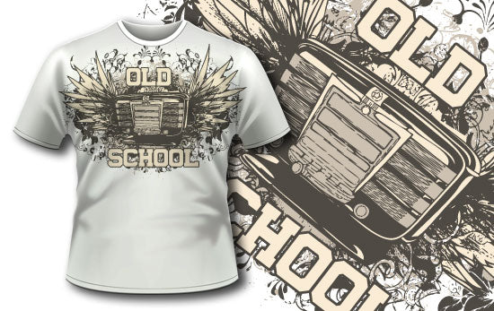Jukebox and Wings T-Shirt - Omega Design