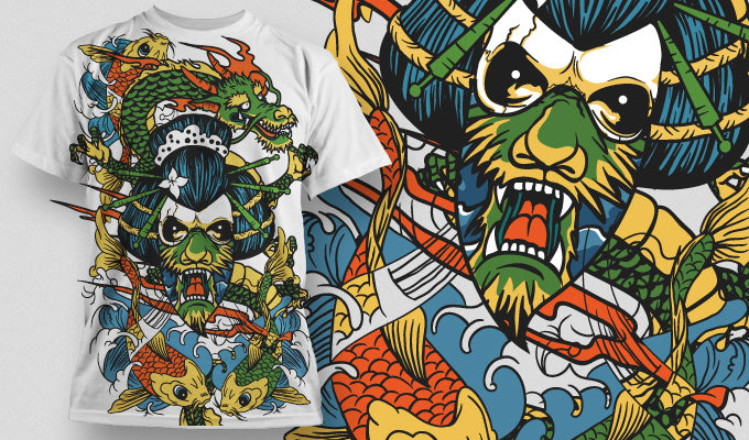 Dragon mask and Koi - T-Shirt - Shirto.nl