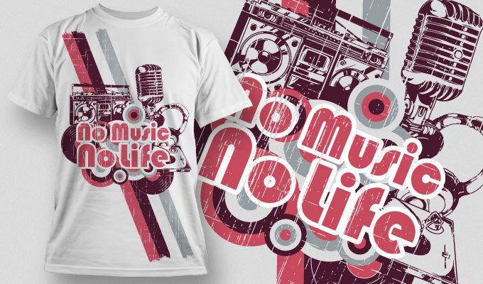 No music No life - T-Shirt - Shirto.nl