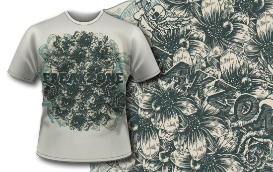 Art Nouveau Flowers T-Shirt - Omega Design