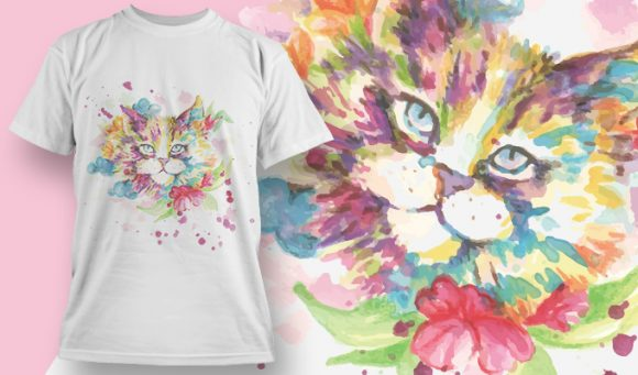 Aquarel poesje T-Shirt - Omega Design
