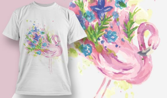 Flamingo Aquarel T-Shirt - Omega Design