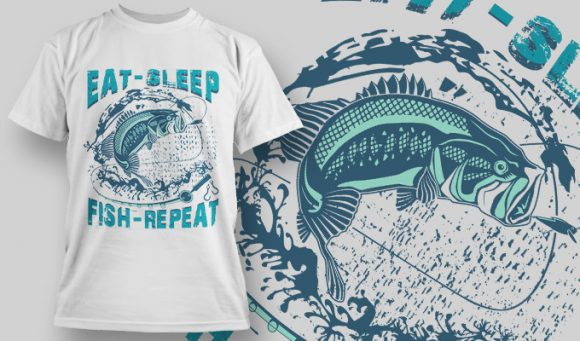 Eat Sleep Fish Repeat - T-Shirt - Shirto.nl