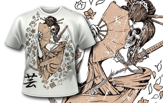 Deadly Geisha T-Shirt - Omega Design