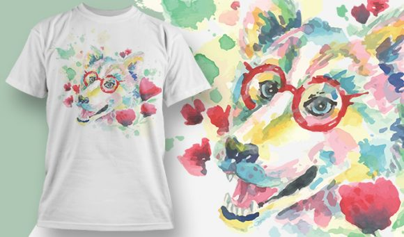 Wolf with Glasses T-Shirt - Omega Design