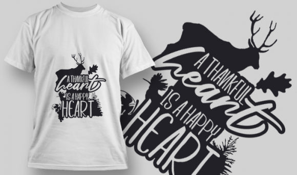 A Thankful Heart is a Happy Heart 2 T-Shirt - Omega Design
