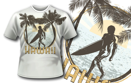 Surfer on Beach T-Shirt - Omega Design