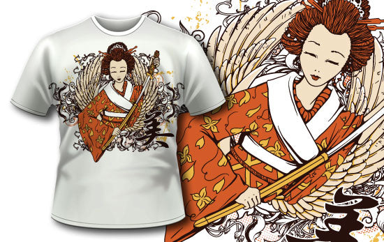 Geisha and Kanji T-Shirt - Omega Design