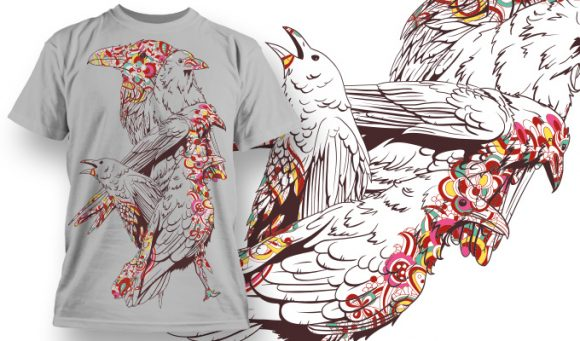 Colored Birds - T-Shirt - Shirto.nl