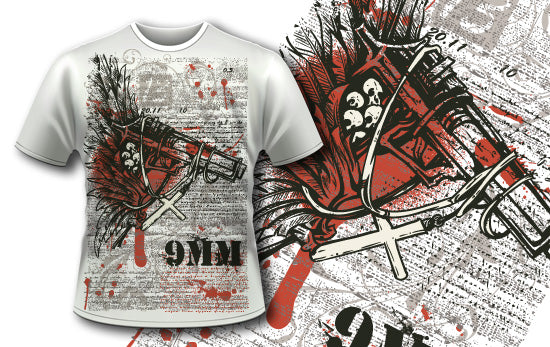 Gun with Cross T-Shirt - Omega Design