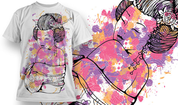 Watercolour Geisha - T-Shirt - Shirto.nl