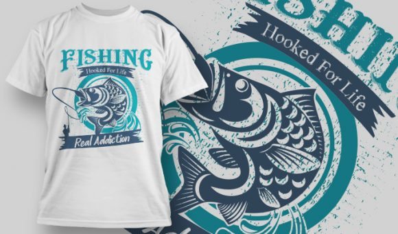 Fishing Hooked For Life - T-Shirt - Shirto.nl