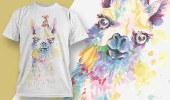 Alpaca aquarel T-Shirt - Omega Design