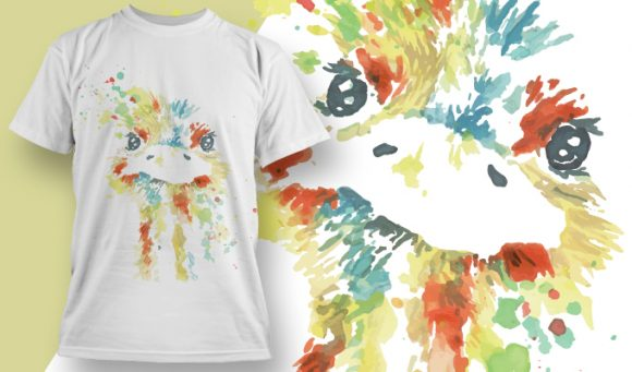 Water Color Ostrich - T-Shirt - Shirto.nl