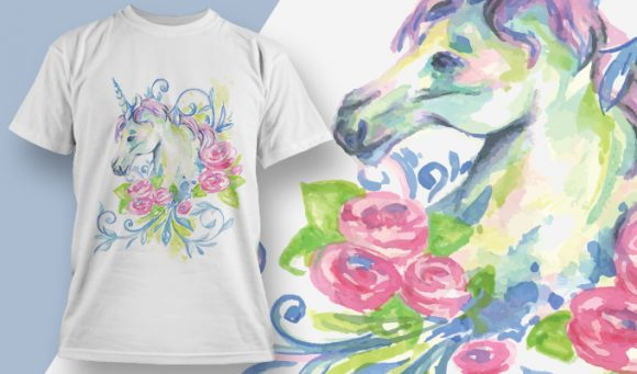 Pink Rosed Unicorn - T-Shirt - Shirto.nl