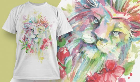 Lion aquarel - T-Shirt - Shirto.nl