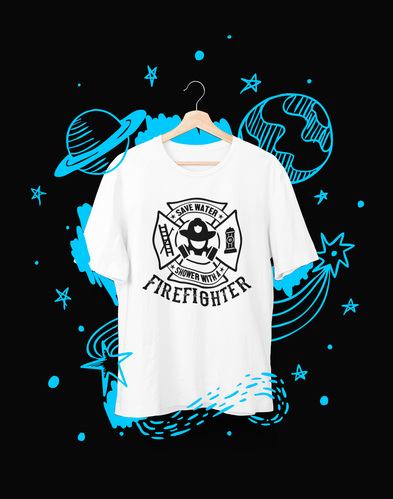Save water Shower with a Firefighter - T-Shirt - Shirto.nl