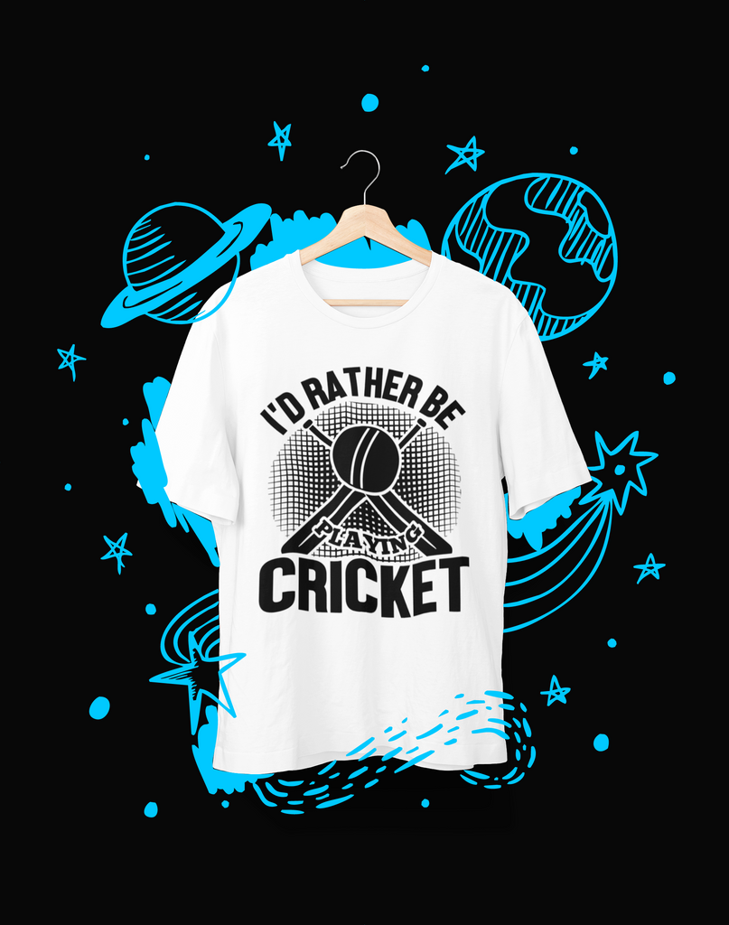 I'd rather be Playing Cricket - T-Shirt - Shirto.nl